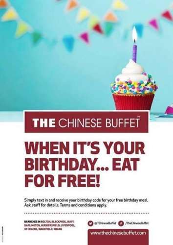 Free Birthday meal at Chinese Buffet!