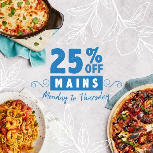 25% off mains, Mon to Thurs